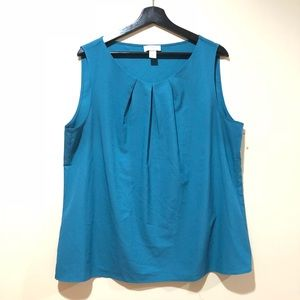 Loft Womens Sleeveless Blue Blouse XL